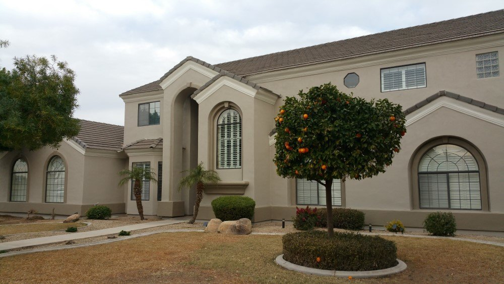 Custom house exterior painting project in mesa az for Arizona exterior house colors